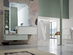 - Lacquered single vanity unit with mirror SOUL - COMPOSITION 13 - Arcom