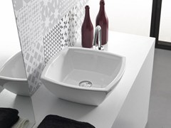 - Countertop square ceramic washbasin SQUARE - Hidra Ceramica