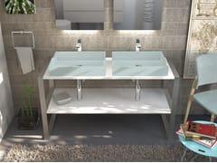 Lavabo a consolle doppio in Pietraluce®SQUARE B | Lavabo a consolle - TECHNOVA