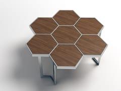 - Low steel and wood coffee table HONEY | Steel and wood coffee table - Altinox Minimal Design