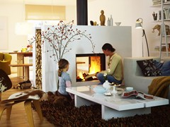 - Double-sided wood-burning built-in fireplace STÛV 21-85DF DF7 - Stûv