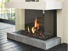- Gas 3-sided glass and steel fireplace STÛV B-100 H | 3-sided fireplace - Stûv