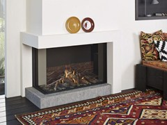 - Gas corner glass and steel fireplace STÛV B-100 H | Corner fireplace - Stûv