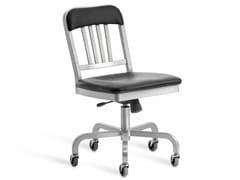 - Sedia girevole in alluminio con ruote NAVY® UPHOLSTERED | Sedia girevole - Emeco