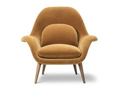 - Fabric easy chair with armrests SWOON | Fabric easy chair - FREDERICIA FURNITURE