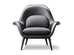 - Leather easy chair with armrests SWOON | Leather easy chair - FREDERICIA FURNITURE