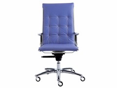 - Height-adjustable leather executive chair with 5-spoke base with casters TAYLORD QUILTED | Executive chair - Luxy