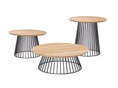Tavolino da giardino rotondo in teakGRID | Tavolino in teak - SOLPURI
