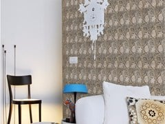 - Damask panoramic wallpaper with textile effect TISSU 1 - Inkiostro Bianco