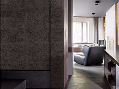 - Damask panoramic wallpaper with textile effect TISSU 4 - Inkiostro Bianco