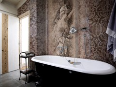 - Damask panoramic wallpaper with textile effect TOILE DE JOUY 02 - Inkiostro Bianco