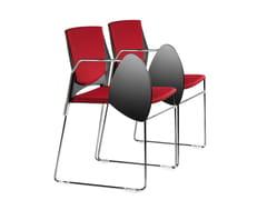 - Sedia da conferenza a slitta in tessuto con braccioli con ribaltina TREK 032 STDX - TALIN