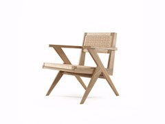 - Rope and oak easy chair with armrests TRIBUTE TB12-O - KARPENTER