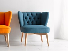 - Tufted upholstered fabric easy chair MALIK | Tufted easy chair - Altinox Minimal Design