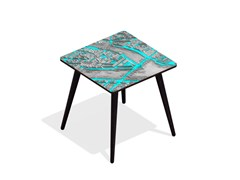 - Square beech wood and HPL coffee table TURGOT PONT NEUF M CYAN | Square coffee table - Bazartherapy