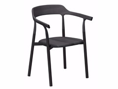 - Aluminium and wood chair with armrests TWIG COMFORT - 10E - Alias