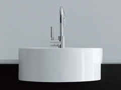 - Semi-inset ceramic washbasin TWIN SET 42 | Semi-inset washbasin - CERAMICA FLAMINIA