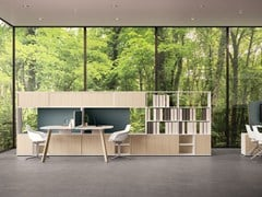 - Tall modular wooden office storage unit USE ME | Tall office storage unit - Sinetica Industries