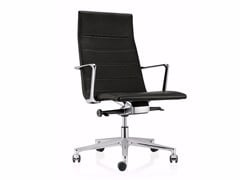 - Swivel leather task chair with 5-Spoke base with casters VALEA ELLE | Leather task chair - ICF