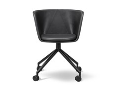 - Leather chair with 4-spoke base with casters VERVE | Leather chair - FREDERICIA FURNITURE