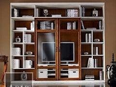 - Solid wood TV wall system VIVRE LUX | Lacquered bookcase - Arvestyle