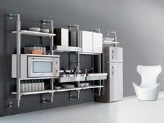 - Wall-mounted aluminium and wood fitted kitchen SYSTEMATICA | Wall-mounted kitchen - Oikos Cucine