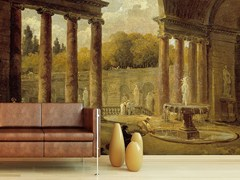 - Trompe l'oeil wallpaper FONTAINE SOUS UN PORTIQUE - Wallpepper