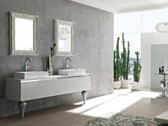- Double cultured marble console sink ZERO4 MARBLE - COMPOSITION 13 - Arcom