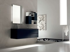 - Sandblasted glass bathroom cabinet / vanity unit ZERO4 GLASS - COMPOSITION 5 - Arcom
