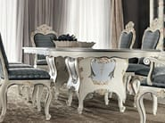 Carved classic one piece dining table with floral inlays - Villa Venezia Collection - Modenese Gastone