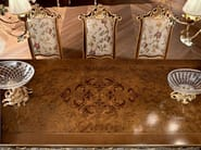 Classic hardwood walnut dining table inlay detail - Casanova Collection - Modenese Gastone