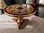 Round hardwood walnut table with inlays and carves - Casanova Collection - Modenese Gastone