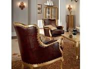 Office furnishing leather padding and hardwood armchair - Casanova Collection - Modenese Gastone