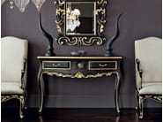 Hardwood console with black craquele top and mirror - Casanova Collection - Modenese Gastone