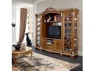 Inlaid and carved hardwood bottle showcase datail - Bella Vita Collection - Modenese Gastone