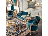 Gold leaf living room with padded sofa and armchair - Bella Vita Collection - Modenese Gastone