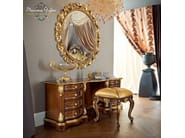 Figured mirror and solid wood toilette with padded pouf - Bella Vita Collection - Modenese Gastone