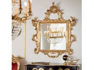 Figured mirror handmade in Italy with gold leaf applications - Bella Vita Collection - Modenese Gastone