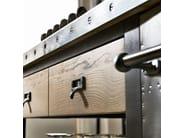 Cucina componibile in acciaio inox e legno 1956 - COMPOSIZIONE 02 - Marchi Cucine