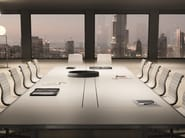 Rectangular tanned leather meeting table 45/90   Tanned leather meeting table - IFT