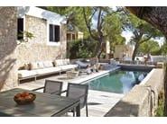 Low round stainless steel garden side table ARAM | Low coffee table - GANDIA BLASCO