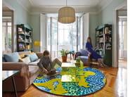Round wool rug BLUE CHINA AMARILLO - GAN By Gandia Blasco
