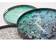 Round wood and glass tray BLUE SLICE - Notre Monde
