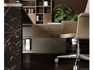 Contemporary style L-shaped wooden office desk with overbridge with drawers BOLD | Executive desk - Caroti