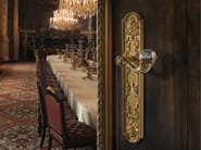 Louis XIV brass door handle with Swarovski® Crystals on back plate BRILLIANT CRYSTAL | Door handle on back plate - LINEA CALI'