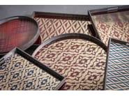 Round tray BURGUNDY IKAT   Round tray - Notre Monde