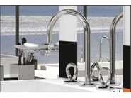 Contemporary style 3 hole steel washbasin mixer with aerator with polished finishing COLLECTION O | Washbasin mixer - INTERCONTACT