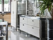 Contemporary style linear stainless steel kitchen CUCINA 250 LEGNO | Contemporary style kitchen - ALPES-INOX