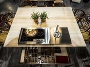 Cucina su misura in acciaio inox in stile moderno con isola CUCINA CONVIVIO – TAVOLO IN LEGNO 190X25 - ALPES-INOX