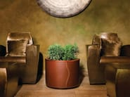 Round leather plant pot with automatic watering CUIR | Round plant pot - Hobby Flower